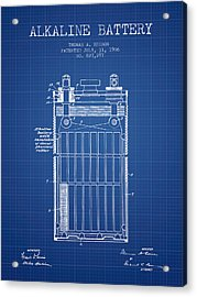 Thomas Edison Alkaline Battery From 1906 - Blueprint Acrylic Print by Aged Pixel