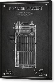 Thomas Edison Alkaline Battery From 1906 - Charcoal Acrylic Print by Aged Pixel