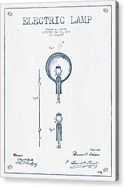 Thomas Edison Electric Lamp Patent From 1880 - Blue Ink Acrylic Print