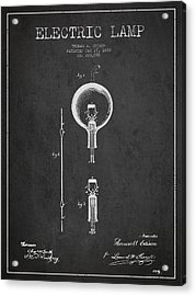 Thomas Edison Electric Lamp Patent From 1880 - Dark Acrylic Print by Aged Pixel