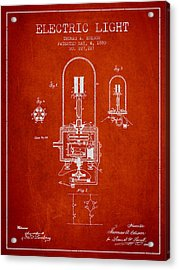Thomas Edison Electric Light Patent From 1880 - Red Acrylic Print by Aged Pixel