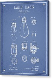 Thomas Edison Lamp Base Patent From 1890 - Light Blue Acrylic Print by Aged Pixel