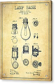 Thomas Edison Lamp Base Patent From 1890 - Vintage Acrylic Print by Aged Pixel