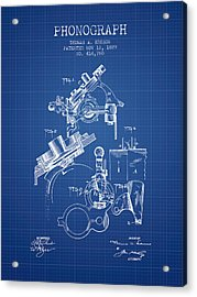 Thomas Edison Phonograph Patent From 1889 - Blueprint Acrylic Print by Aged Pixel