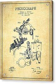 Thomas Edison Phonograph Patent From 1889 - Vintage Acrylic Print
