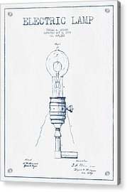Thomas Edison Vintage Electric Lamp Patent From 1882  - Blue Ink Acrylic Print