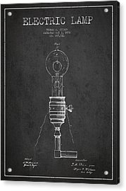 Thomas Edison Vintage Electric Lamp Patent From 1882 - Dark Acrylic Print by Aged Pixel
