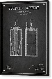 Thomas Edison Voltaic Battery Patent From 1890 - Charcoal Acrylic Print by Aged Pixel