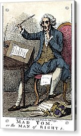Thomas Paine Cartoon, 1791 Acrylic Print