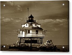 Thomas Point Shoal Lighthouse Sepia Acrylic Print by Skip Willits