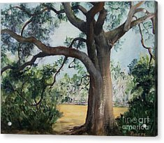 Acrylic Print featuring the painting Thomasville Oak by Mary Lynne Powers