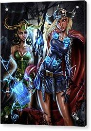 Thor And Loki Acrylic Print by Pete Tapang