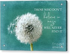 Acrylic Print featuring the photograph Those Who Dont Believe In Magic by Sylvia Cook