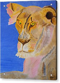 Acrylic Print featuring the painting Thoughts Of A Feline by Meryl Goudey