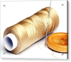 Thread And Button Acrylic Print by Sinisa Botas