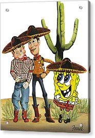 Acrylic Print featuring the painting Three Amigos by Ferrel Cordle