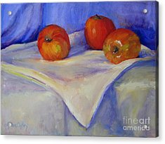 Three Apples With Blue And White Acrylic Print