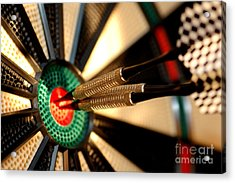 Three Arrows In The Centre Of A Dart Board Acrylic Print by Michal Bednarek