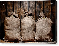 Three Bags In A Warehouse Acrylic Print by Olivier Le Queinec