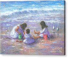 Three Beach Girls Brunettes Acrylic Print