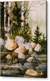 Three Birch By Rocky Stream Acrylic Print