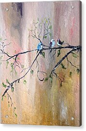 Three Birds Acrylic Print by Evelina Popilian