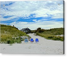 Acrylic Print featuring the photograph Three Blue Beach Chairs by Amazing Jules