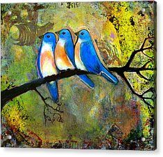Three Little Birds - Bluebirds Acrylic Print
