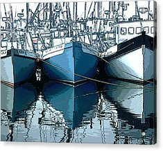 Three Boats In Blue Acrylic Print