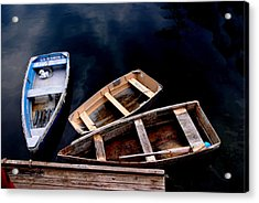 Acrylic Print featuring the photograph Three Boats In Rockport Mass by Jacqueline M Lewis