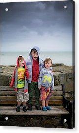 Three Boys On Bench Acrylic Print by Samuel Ashfield