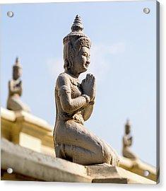 Three Buddha Statues,silver Pagoda Acrylic Print