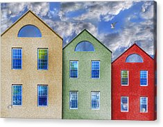 Three Buildings And A Bird Acrylic Print