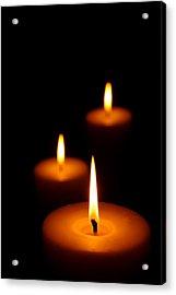 Three Burning Candles Acrylic Print by Johan Swanepoel