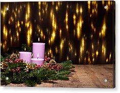 Three Candles In An Advent Flower Arrangement Acrylic Print by Ulrich Schade