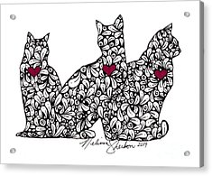 Acrylic Print featuring the drawing Three Cats by Melissa Sherbon