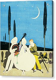 Three Characters Wears Pierrot Acrylic Print by Arthur Finley