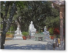 Three Chinese Statues Acrylic Print by Linda Phelps
