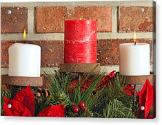 Three Christmas Candles Acrylic Print by Kenneth Sponsler