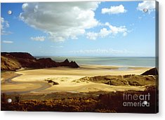 Three Cliffs Bay On The Gower Acrylic Print