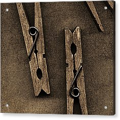 Three Clothes Pins Acrylic Print by Bob RL Evans
