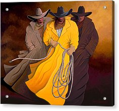 Acrylic Print featuring the painting Three Cowboys by Lance Headlee