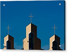 Acrylic Print featuring the photograph Three Crosses Of Livingway Church  by Ed Gleichman