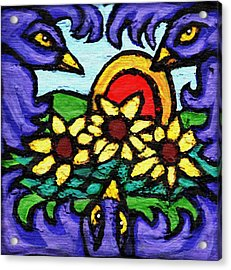 Three Crows And Sunflowers Acrylic Print by Genevieve Esson