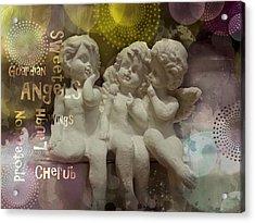Three Cute Angels Acrylic Print by Barbara Orenya