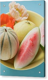Three Different Melons In Bowl (detail) Acrylic Print