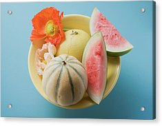 Three Different Melons In Bowl (overhead View) Acrylic Print