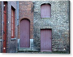 Three Doors And Two Windows Bruges, Belgium Acrylic Print
