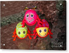 Three Easter Egg Bugs Acrylic Print by Sue Smith