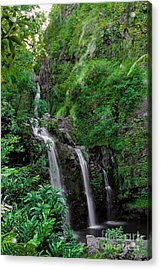 Three Falls On The Road To Hana Acrylic Print
